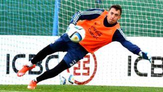 Marchesín, durante un entrenamiento con Argentina