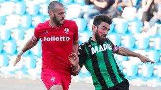 Magnanelli, jugador de Sassuolo, con la marca roja en el rostro