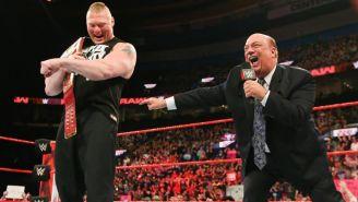 Brock Lesnar (izq) y Paul Heyman (der) en RAW