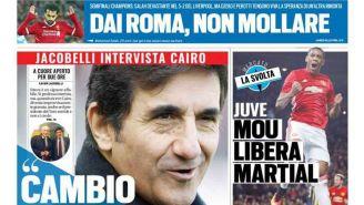 Portada de Tuttosport sobre la derrota de la Roma