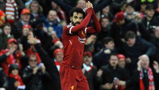 Salah festeja un tanto contra la Roma en Anfield