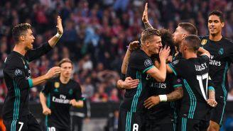 Los jugadores del Real Madrid celebran un gol contra Bayern Munich
