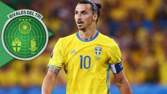 Zlatan, durante un juego con Suecia
