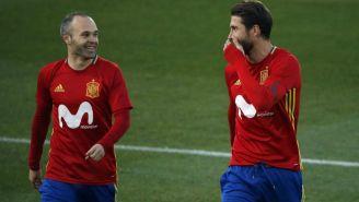 Iniesta y Ramos en un entrenamiento de la España