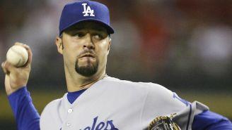 Esteban Loaiza durante un juego con Los Angeles Dodgers