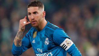 Ramos celebra un gol con el Real Madrid