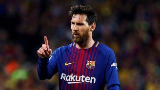 Lionel Messi festeja un gol con el Barça en La Liga