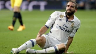 Carvajal tras una falta en Champions League
