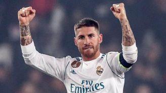 Ramos celebra durante un partido