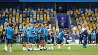 Jugadores del Real Madrid en entrenamiento previo a la Final de Champions