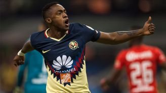 Renato Ibarra celebra un gol con el América durante el C2018