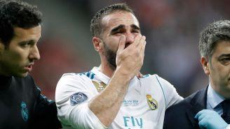 Carvajal llora tras lesionarse en la Final de la Champions