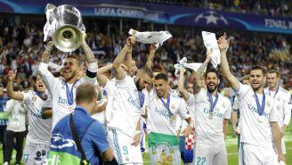 Jugadores del Real Madrid festejan la obtención de la Champions League frente a Liverpool