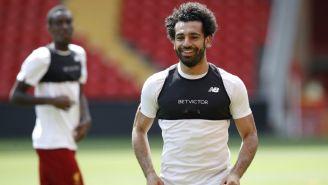 Salah en un entrenamiento con el Liverpool