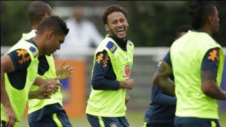 Neymar, durante un entrenamiento de Brasil