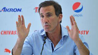 Gabriel de anda, en conferencia de prensa con Chivas