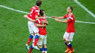 Celebración de Rusia durante la inauguración del Mundial