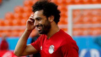 Mohamed Salah, en un entrenamiento con Egipto