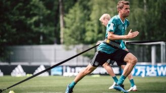 Thomas Müller, durante un entrenamiento con Alemania