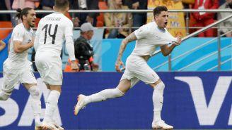Giménez celebra su gol frente a Egipto