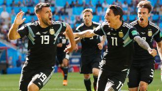 Agüero celebra su anotación contra Islandia