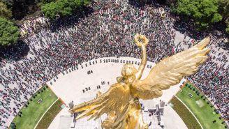 Cientos de aficionados mexicanos se reunieron en el Ángel