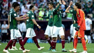 Seleccionados mexicanos festejan triunfo frente a Alemania