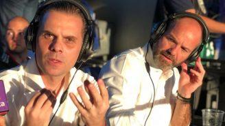Martinoli y Luis García, durante una transmisión
