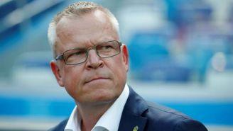 Janne Andersson durante el partido de Suecia