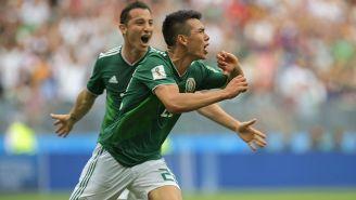 Chucky Lozano festeja su gol contra Alemania