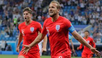 Kane celebra un tanto contra Túnez en Rusia