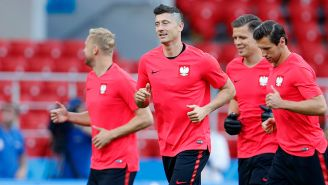 Lewandowski, durante una sesión de práctica con Polonia