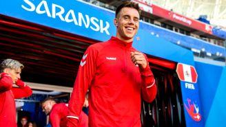 Jonas Knudsen, durante un entrenamiento con Dinamarca