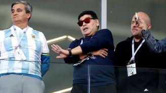 Maradona, durante el debut de Argentina en Rusia 2018