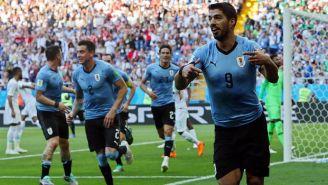 Suárez celebra su gol contra Arabia