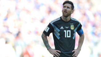 Messi al finalizar el encuentro contra Islandia