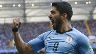 Luis Suárez festeja gol frente a Arabia Saudita