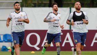 Jugadores de Argentina se ejercitan en una práctica