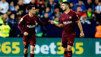 Coutinho y Suárez, en un juego del Barcelona en 2018