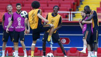 Jugadores de Bélgica en entrenamiento previo a encuentro contra Túnez