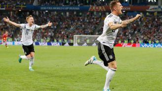 Kroos celebra su golazo contra Suecia en Rusia 2018