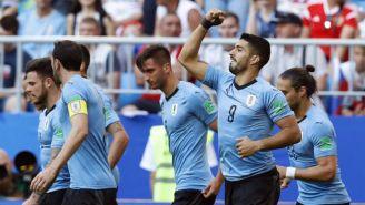 Luis Suárez festeja un gol contra Rusia en la Copa del Mundo