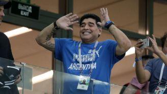 Maradona, antes del juego entre Argentina y Croacia de Rusia 2018