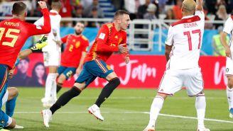 Aspas celebra el tanto del empate contra Marruecos