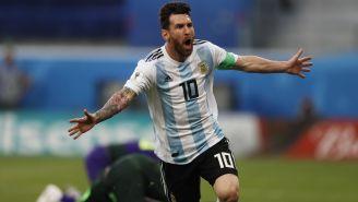 Messi celebra su anotación contra Nigeria en el Mundial