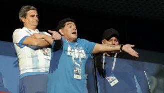 Maradona, en el juego entre Argentina y Nigeria en Rusia 2018