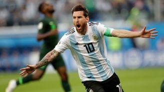 Messi celebra su anotación contra Nigeria en Rusia 2018