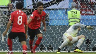 Young-Gwon Kim festeja su gol contra Alemania en Rusia 2018