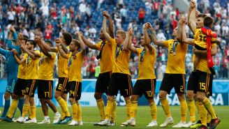 Jugadores de Bélgica festejan el 3er lugar en Rusia 2018