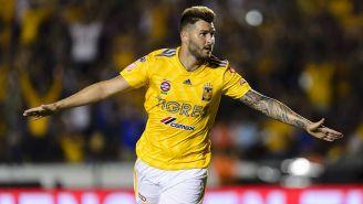 Gignac celebra su gol ante León en el Apertura 2018